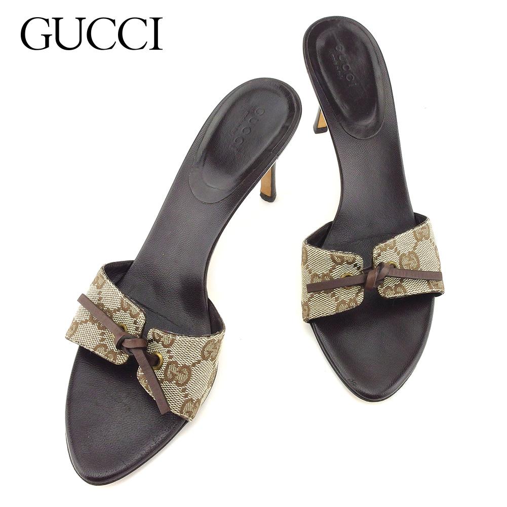 【中古】 グッチ Gucci サンダル シューズ 靴 レディース #37ハーフ GG柄 ブラウン ベージュ キャンバス×レザー 人気 良品 T7688