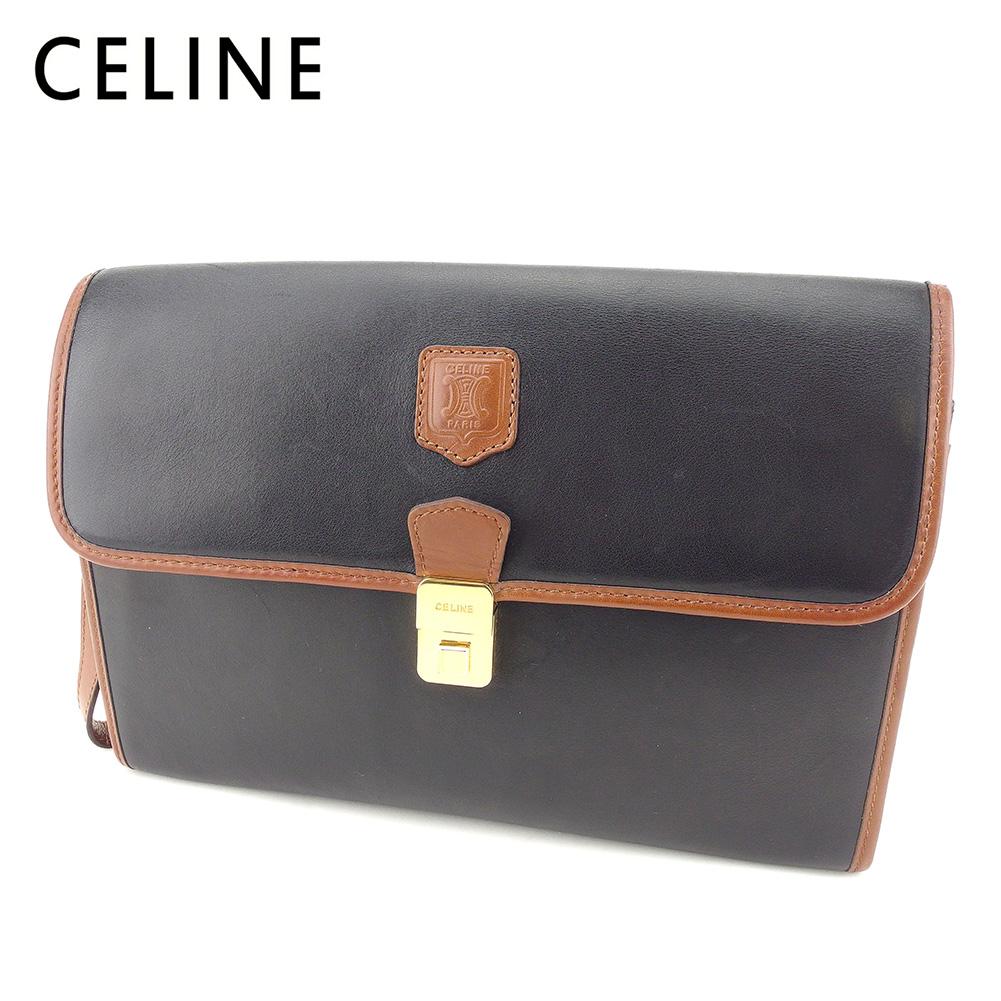 【中古】 セリーヌ Celine クラッチバッグ セカンドバッグ レディース メンズ 可 ブラック ブラウン レザー ヴィンテージ 人気 T7698