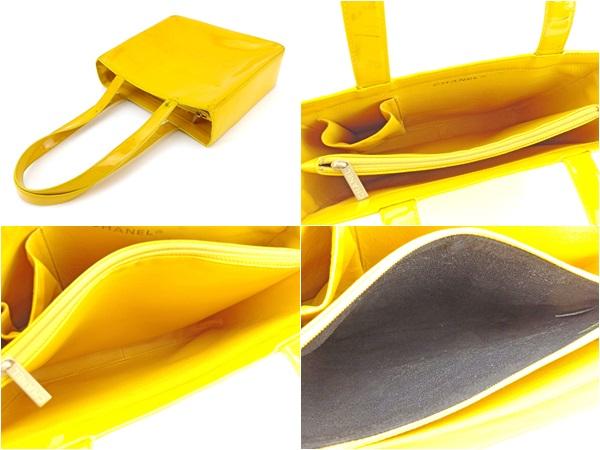 c76e676b82ce9a Chanel CHANEL tote bag shoulder bag Lady's logo yellow enamel leather  popularity sale L1458.