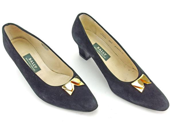 バリー BALLY パンプス シューズ 靴 レディース ♯3ハーフE ブラック×ゴールド スエード L1461SGUzMVqp