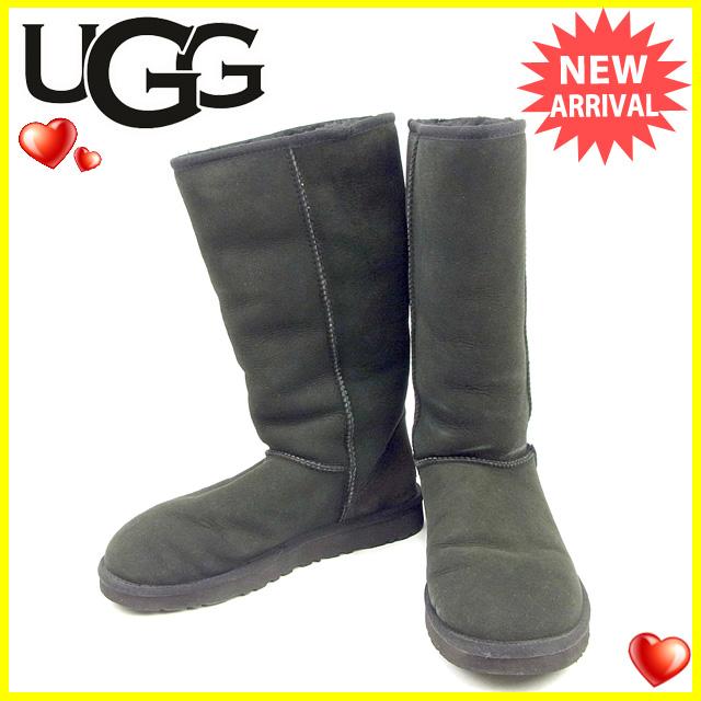 【中古】 アグ UGG ブーツ シューズ 靴 レディース ♯250 ムートン クラシックトール ブラック シープスキン 良品 Y7267 .