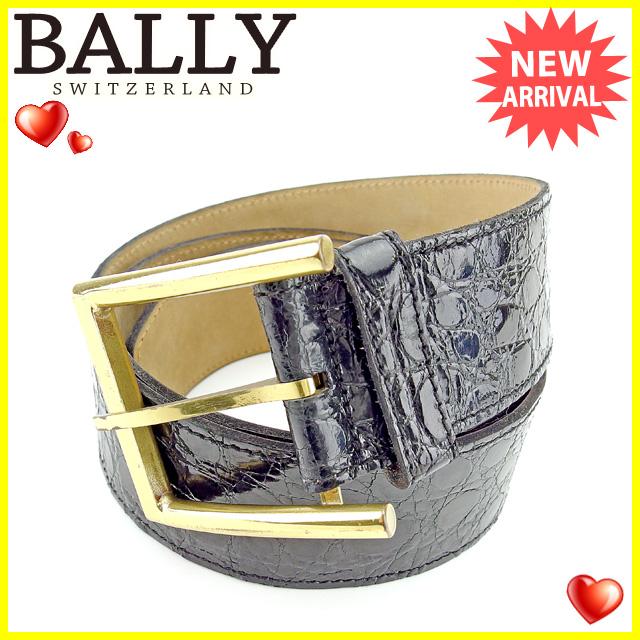 배리 BALLY 벨트 레이디스 크로커다일형 밀기 블랙 에나멜 레더 인기 세일 J18118 .
