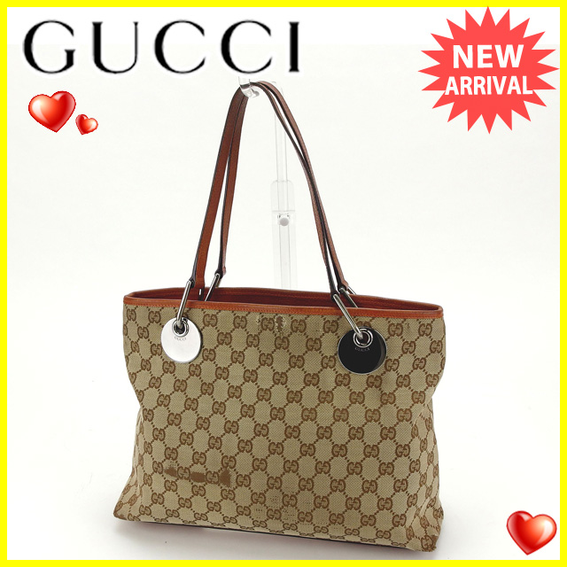 Gucci GUCCI tote bag shoulder bag man and woman combined use eclipse GG canvas 120837 beige X brown X silver system canvas X leather (correspondence) popularity sale S374
