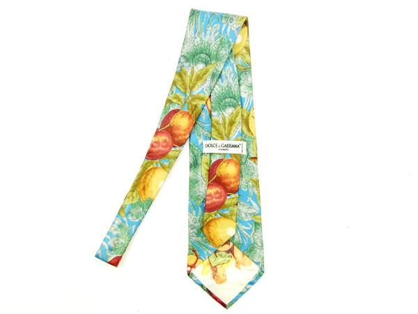 Dolce & Gabbana Dolce&Gabbana tie Lady's fruit blue X green 100% silk quality goods A1306