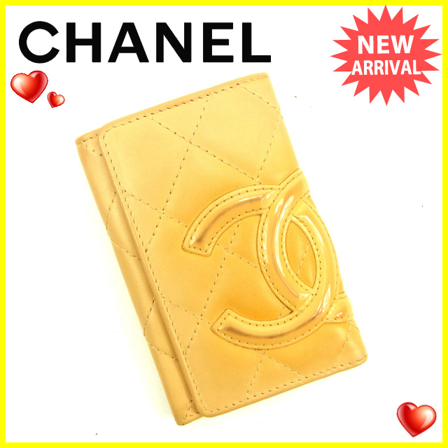 Chanel CHANEL key case 6-key case ladies Cambon Beige canvas / leather G925 ★