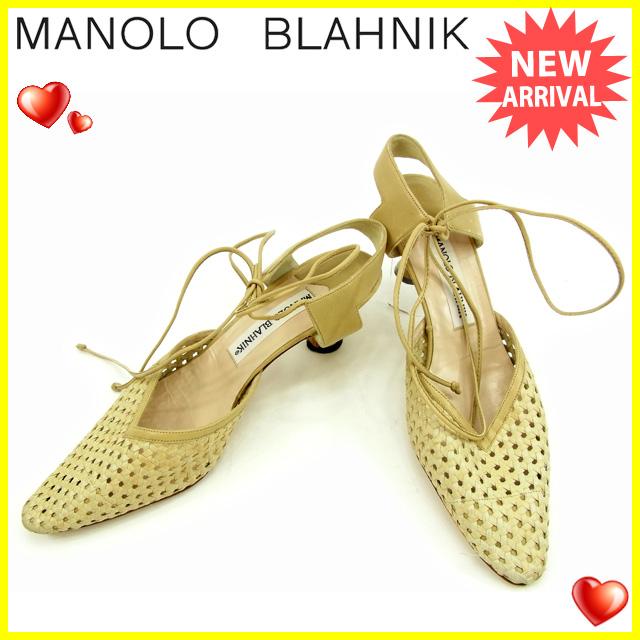 【中古】 マノロブラニク MANOLO BLAHNIK レースアップパンプス #36 1/2 レディース メッシュ ベージュ レザー 人気 Y5283 .