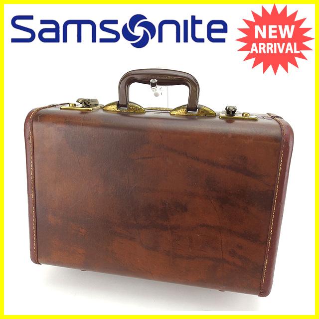 【中古】 サムソナイト SAMSONITE トラベルバッグ ハンドバッグ ロゴプレート ブラウン×ゴールド レザー ヴィンテージ レア Y5375 .