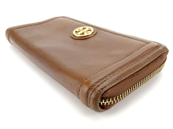 adc05b9e46d Tolly Birch Tory Burch long wallet round fastener Lady s logo plate brown X  gold leather popularity sale Y5924