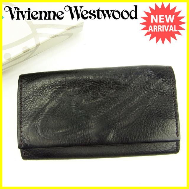 【中古】 ヴィヴィアン ウエストウッド Vivienne Westwood キーケース 5連キーケース メンズ可 オーブ ブラック レザー 人気 Y5580 .