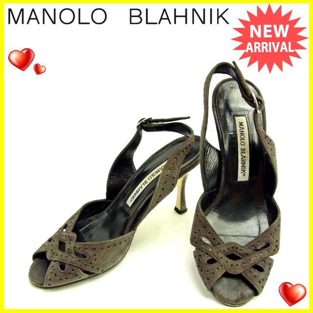 【中古】 マロノブラニク Manolo Blahnik サンダル シューズ 靴 レディース ♯34ハーフ スリングバック パンチング ダークグレー×シルバー 良品 Y3661 .