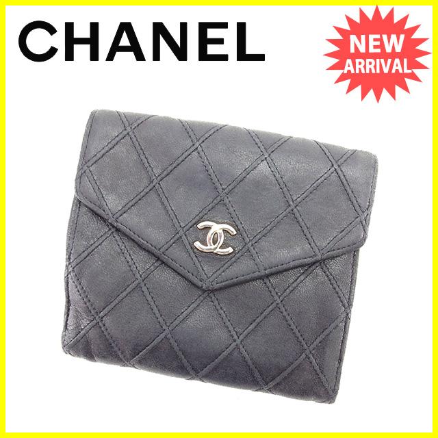 【中古】 シャネル CHANEL Wホック財布 二つ折り財布 メンズ可 マトラッセ ブラック×シルバー レザー 人気 Y6067 .