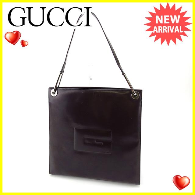 【中古】 グッチ Gucci ショルダーバッグ ワンショルダー メンズ可 ブラウン レザー 人気 Y6086 .