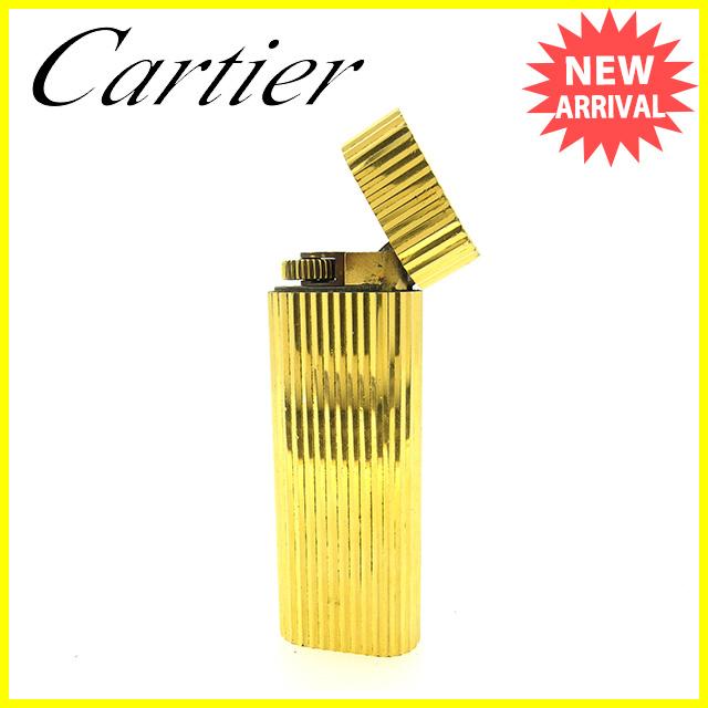 【中古】 カルティエ Cartier ライター メンズ可 ストライプ ゴールド ゴールドメタル 訳あり Y6440 .