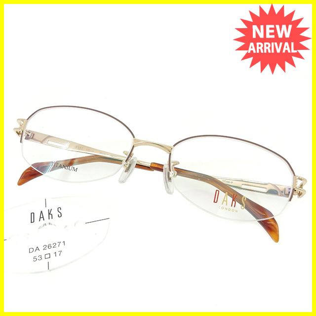 【中古】 ダックス DAKS 眼鏡 メガネ レディース メンズ 可 展示品未使用 ゴールド×ブラウン 中古 T1598 .