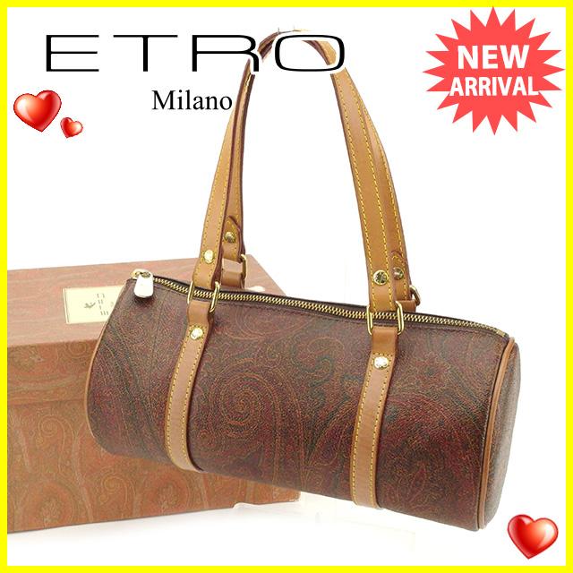 698d7d7c6ab6 【中古】 エトロ ETRO ハンドバッグ ミニボストンバッグ 筒形 レディース ペイズリー ブラウン系×