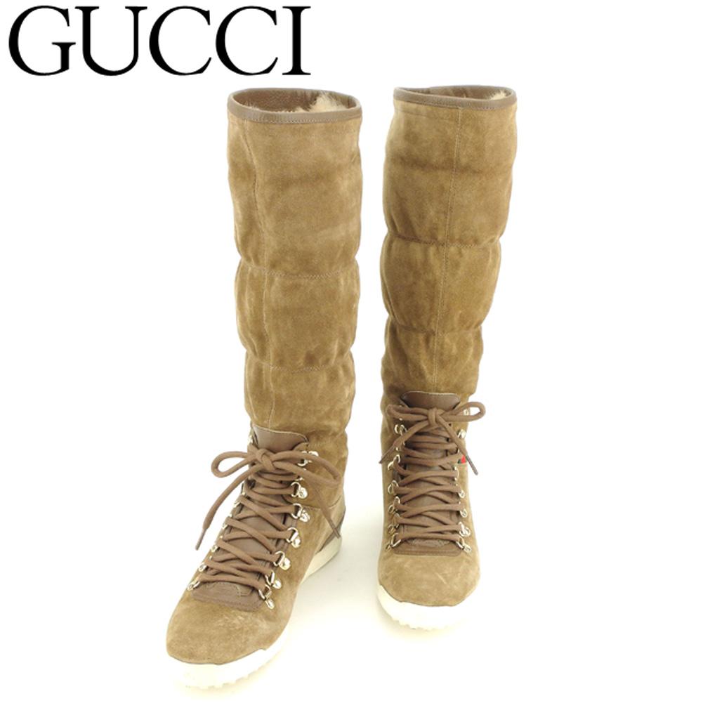 【中古】 グッチ GUCCI ブーツ シューズ 靴 レディース ♯36 ロング 内側ラビットファー ベージュ ブラウン ゴールド系 スエード×レザー×ラビットファー C3405