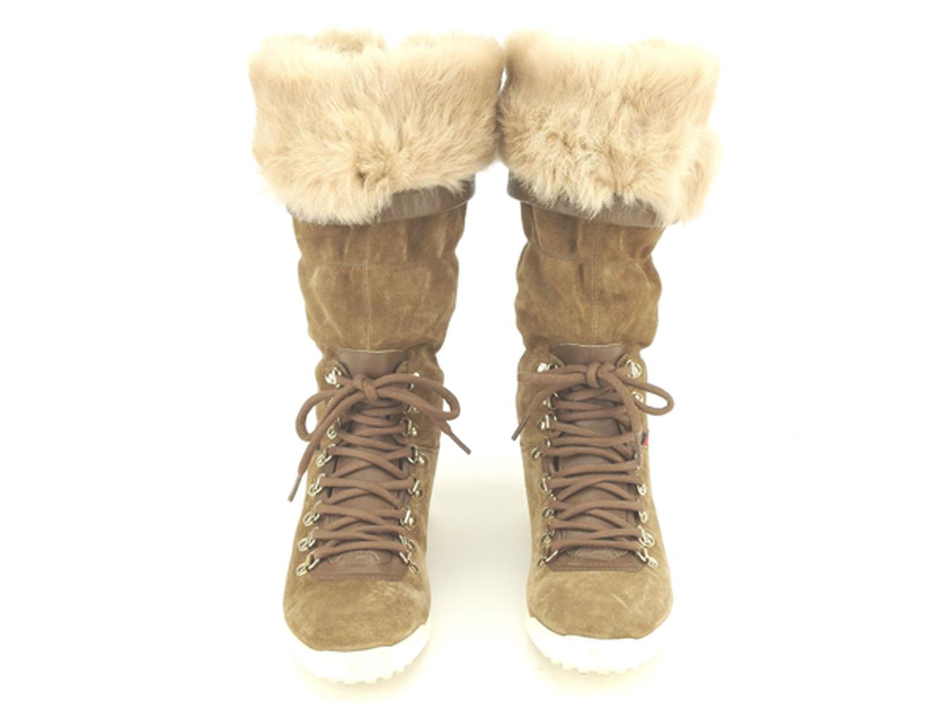 0a35c048d ... Gucci GUCCI boots shoes shoes Lady's ♯ 36 long inside rabbit fur race  up beige brown ...