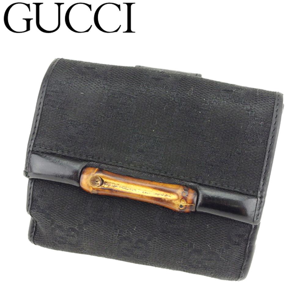 【中古】 グッチ GUCCI Wホック 財布 二つ折り レディース メンズ バンブー GGキャンバス ブラック ブラウン キャンバス×レザー 人気 セール C3424
