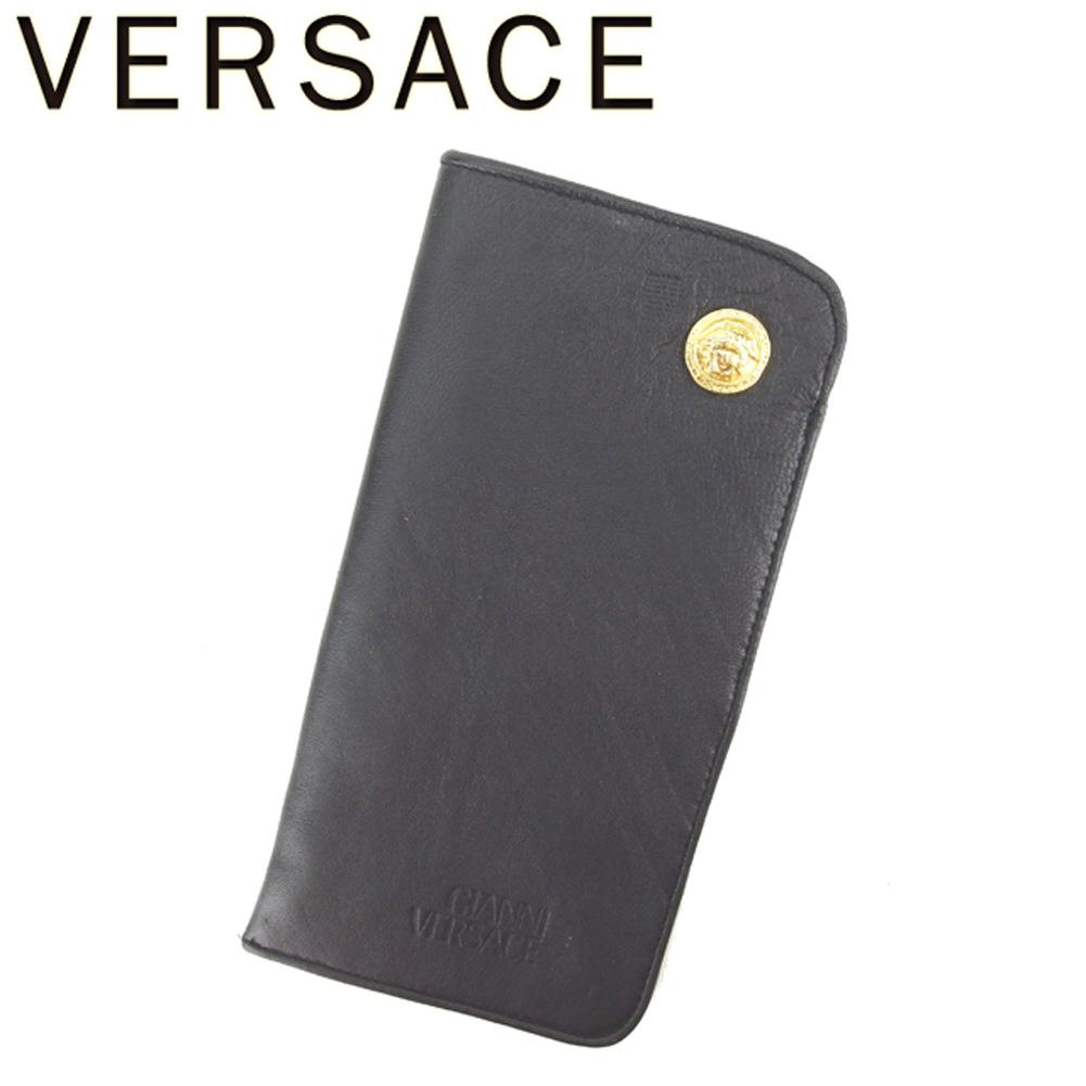 【中古】 ジャンニ ヴェルサーチ メガネケース サングラスケース メドゥーサ ブラック ゴールド GIANNI VERSACE C3425