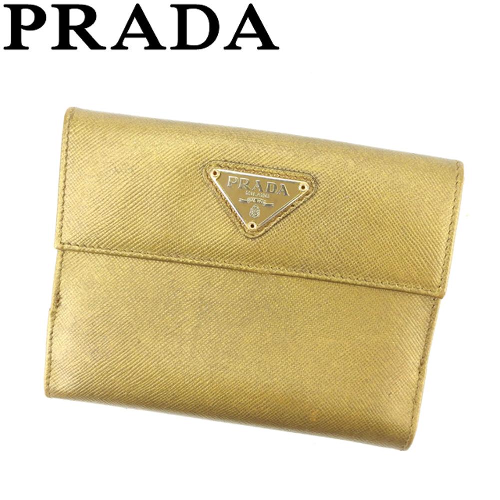【中古】 プラダ PRADA Wホック 財布 二つ折り レディース メンズ トライアングルロゴ ゴールド ベージュ サフィアーノレザー 人気 セール C3430