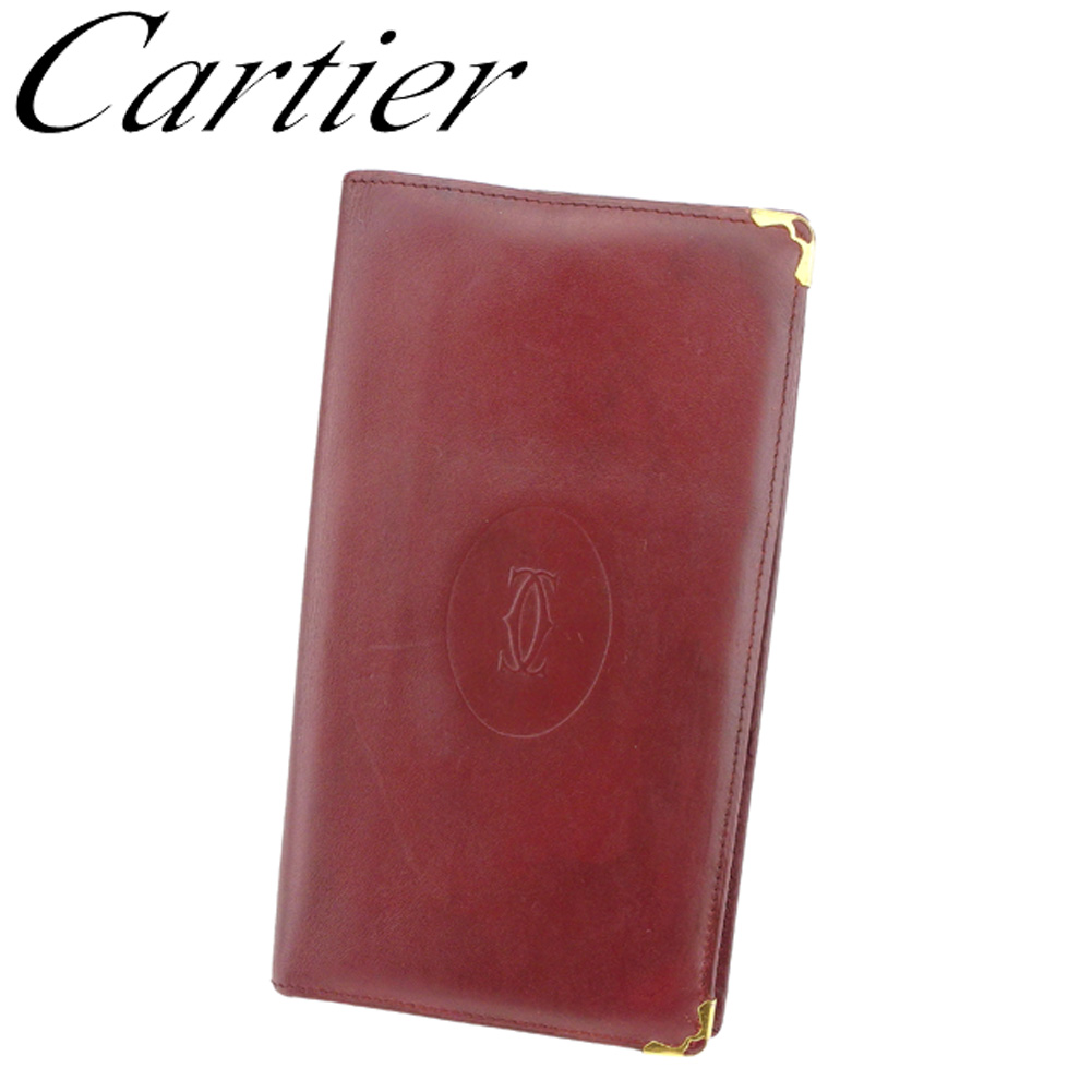 【中古】 カルティエ Cartier 長札入れ 札入れ レディース メンズ マストライン ボルドー ゴールド レザー 人気 セール C3433