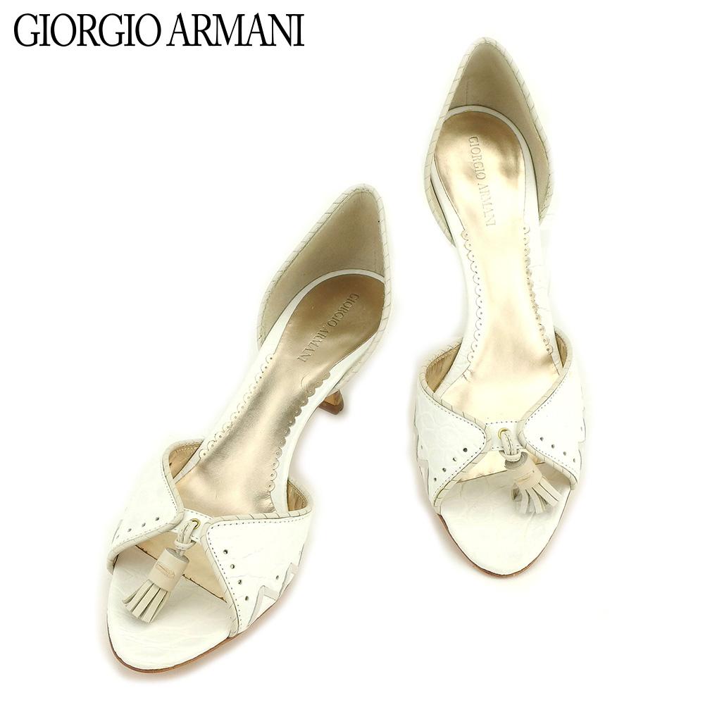 【中古】 ジョルジオ アルマーニ GIORGIO ARMANI サンダル シューズ 靴 メンズ可 #36ハーフ ホワイト 白 レザー E1320
