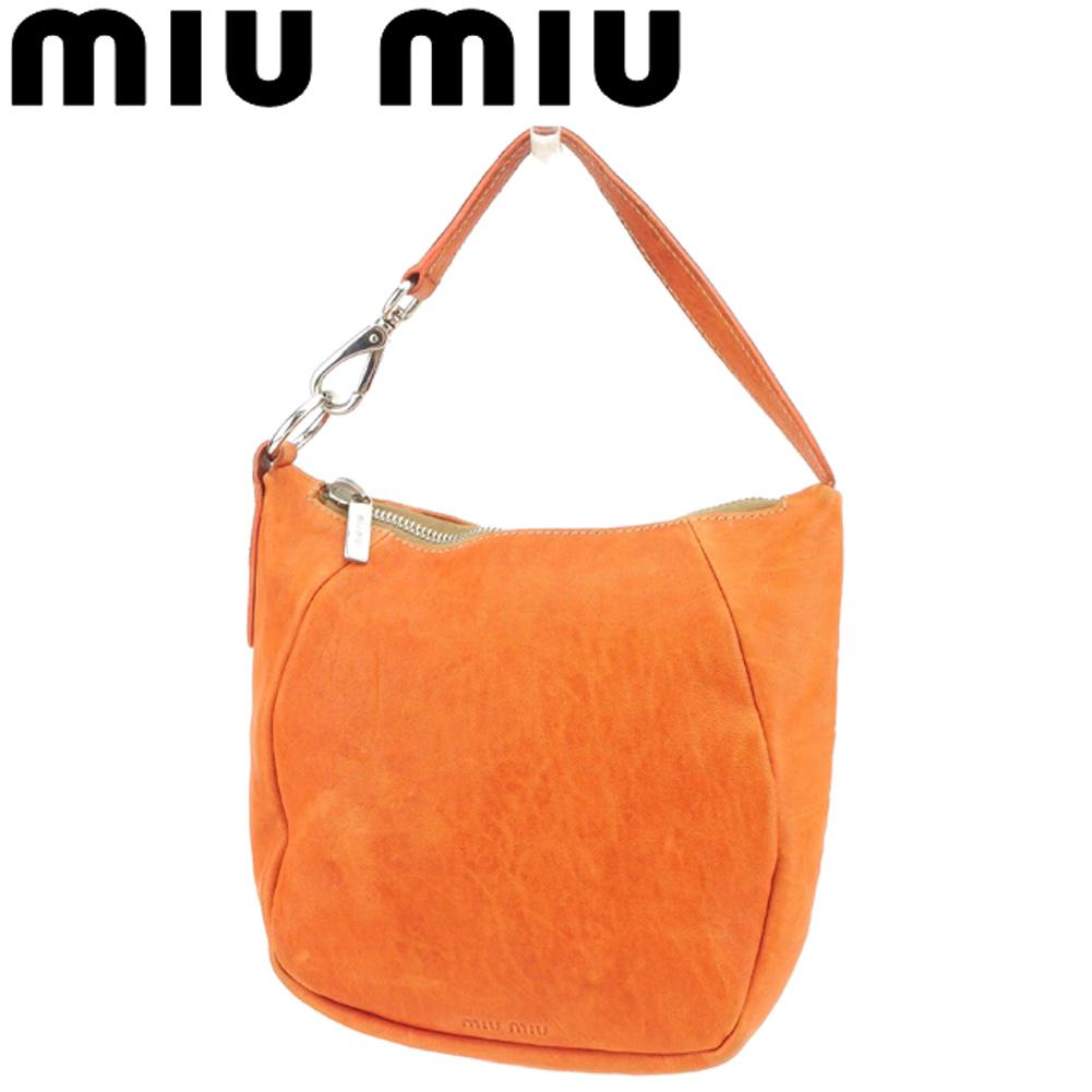 【中古】 ミュウミュウ miumiu ハンドバッグ ポーチ レディース  オレンジ レザー 人気 セール G1283