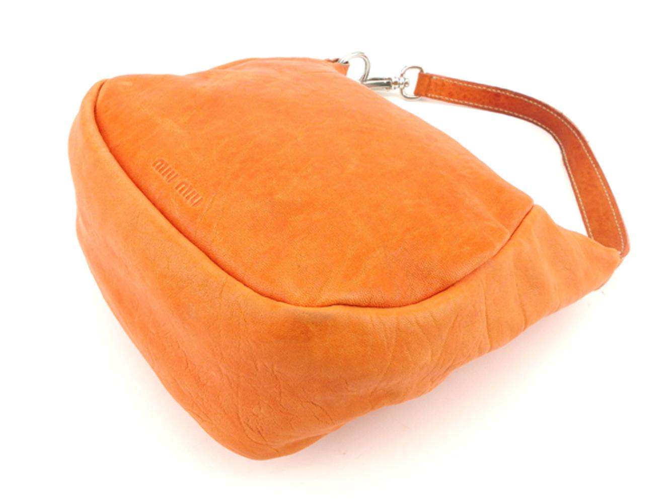 ミュウミュウ miumiu ハンドバッグ ポーチ レディース メンズ オレンジ プレゼント バック ブランド 人気 収納 在庫一掃 1点物 兼用 男性 女性 良品 夏 G1283m8v0nNw