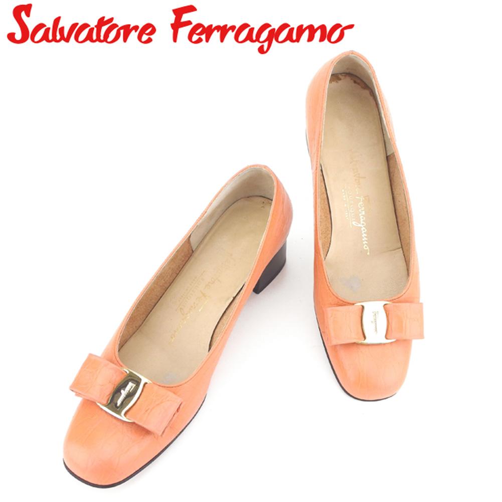 【中古】 サルヴァトーレ フェラガモ Salvatore Ferragamo パンプス シューズ 靴 レディース #7 オレンジ レザー G1290