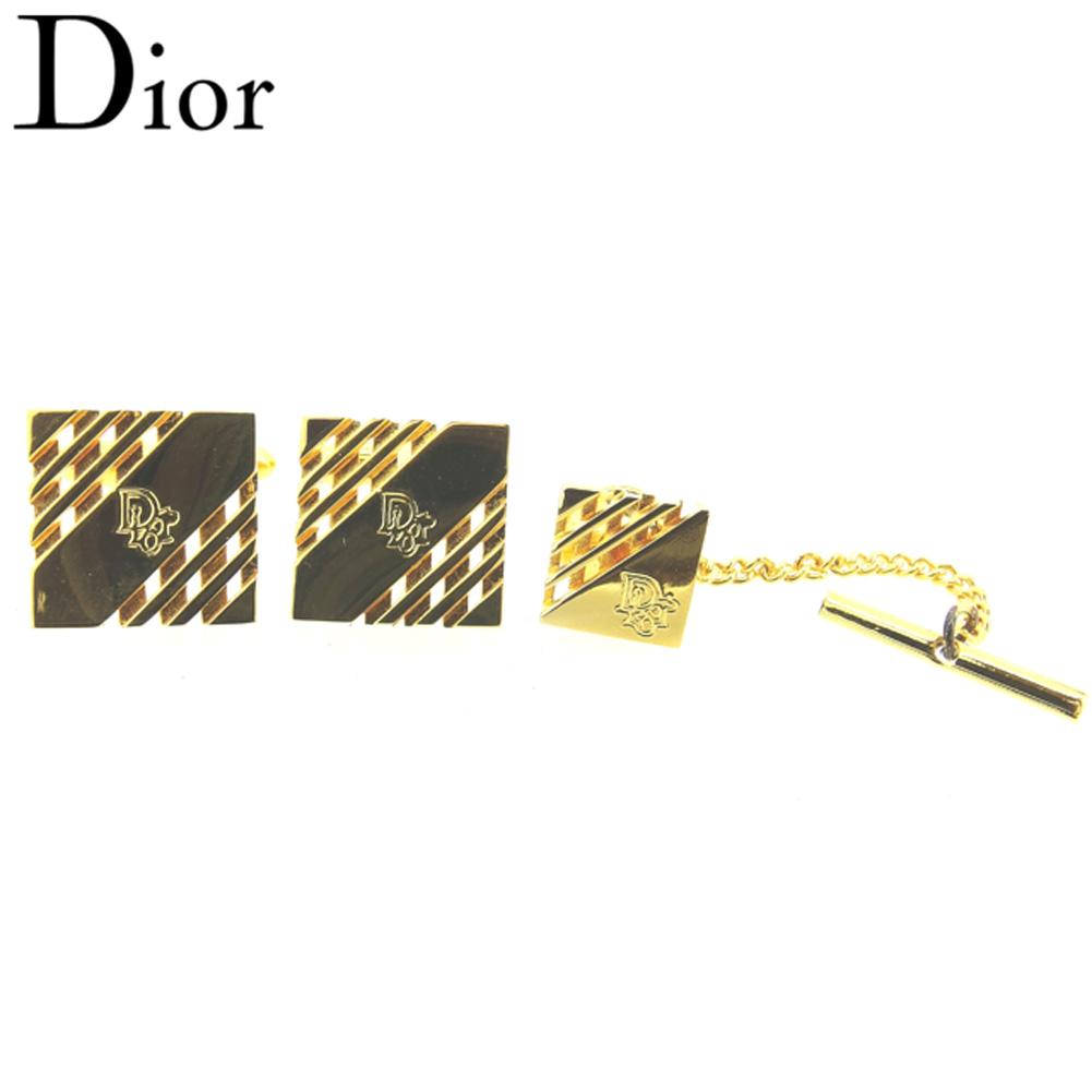 【中古】 ディオール Dior カフス タイピン メンズ  ゴールド ゴールド金具 人気 セール G1297