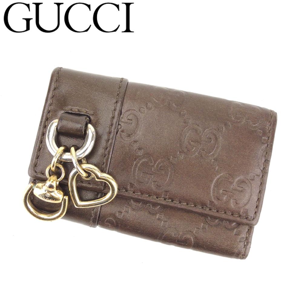 【中古】 グッチ Gucci キーケース 6連キーケース レディース グッチシマ ブラウン レザー 人気 セール G1304