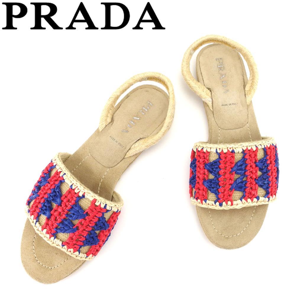 【中古】 プラダ PRADA サンダル シューズ 靴 レディース #34ハーフ ベージュ レッド ブルー 麻×ストロー G1308