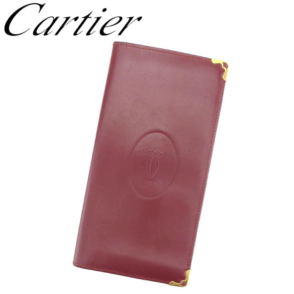 【中古】 カルティエ Cartier 長札入れ 長財布 レディース メンズ ボルドー レザー G1309 .