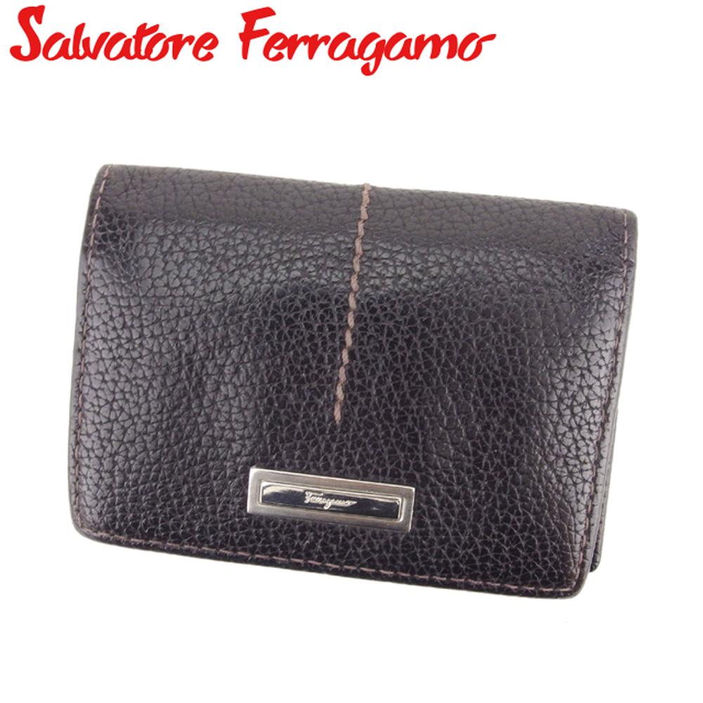 【中古】 サルヴァトーレ フェラガモ Salvatore Ferragamo カードケース レディース メンズ ブラウン レザー G1310