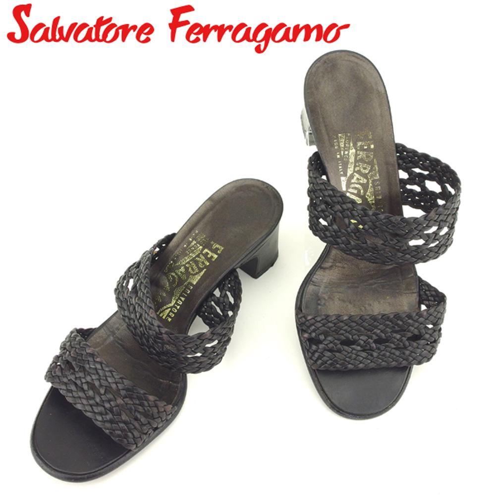【中古】 サルヴァトーレ フェラガモ Salvatore Ferragamo サンダル シューズ 靴 レディース ♯5D ブラック レザー H616