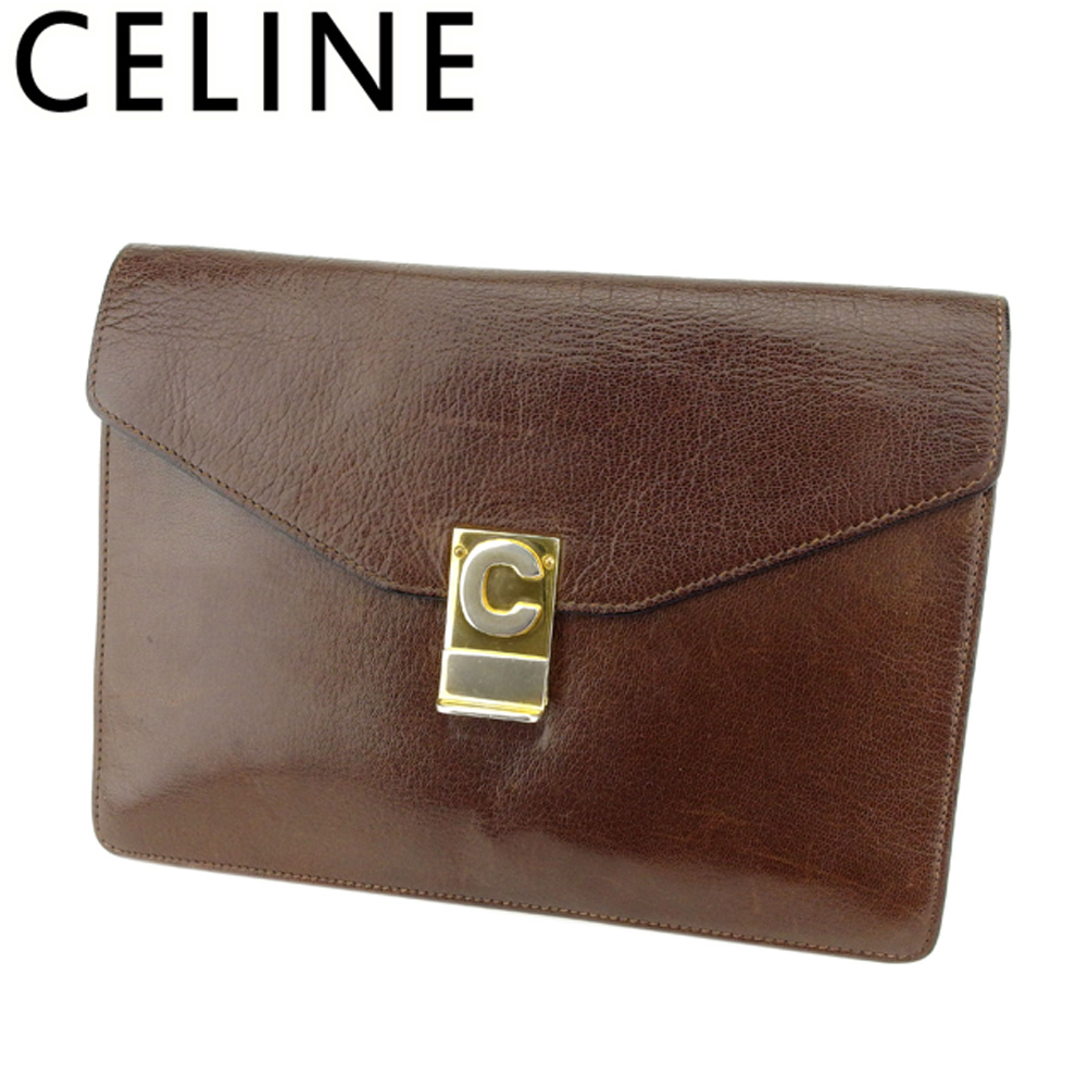 【中古】 セリーヌ CELINE クラッチバッグ セカンドバッグ バッグ レディース メンズ Cマーク ブラウン ゴールド レザー 人気 セール H619