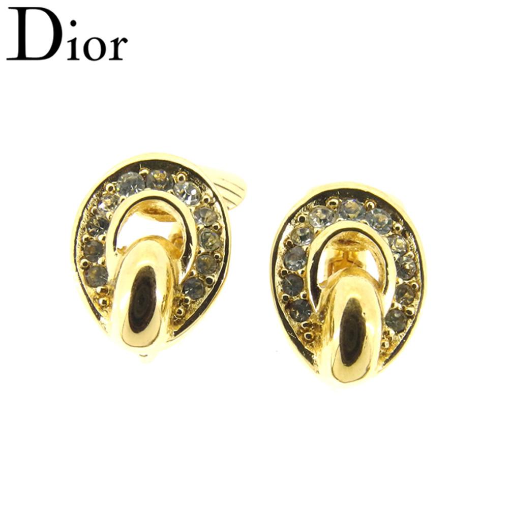 【中古】 ディオール Dior イヤリング アクセサリー レディース ラインストーン ゴールド ゴールドメッキ 人気 良品 H627