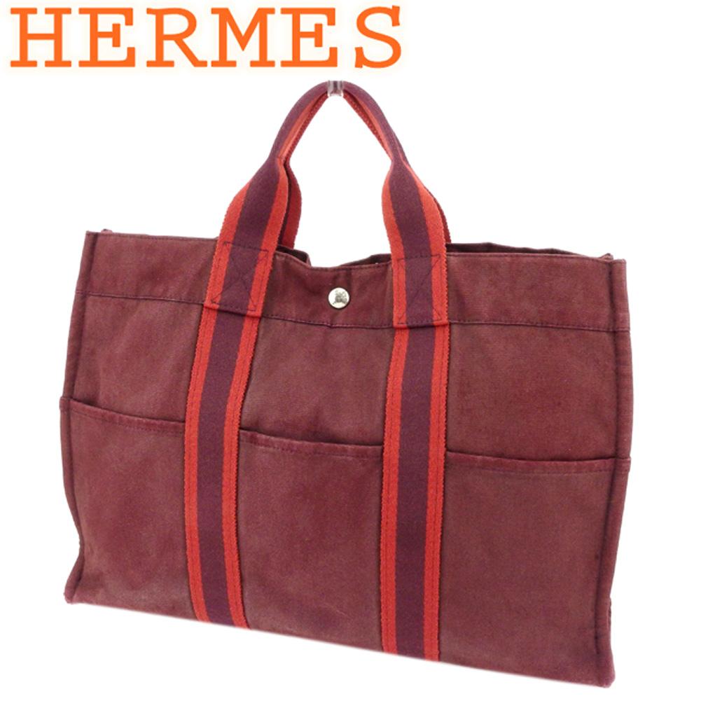 【中古】 エルメス HERMES トートバッグ ハンドバッグ レディース フールトゥトートMM フールトゥ ボルドー パープル 綿100% 人気 セール P760