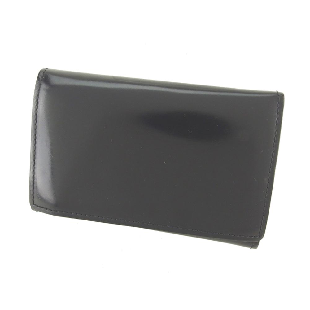 【中古】 カミーユ フォルネ camille fournet 名刺入れ カードケース カード レディース メンズ ブラック レザー P765