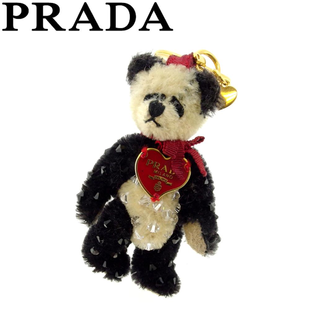 【中古】 プラダ PRADA キーホルダー キーリング レディース パンダ ブラック ベージュ レッド 人気 セール P769 .
