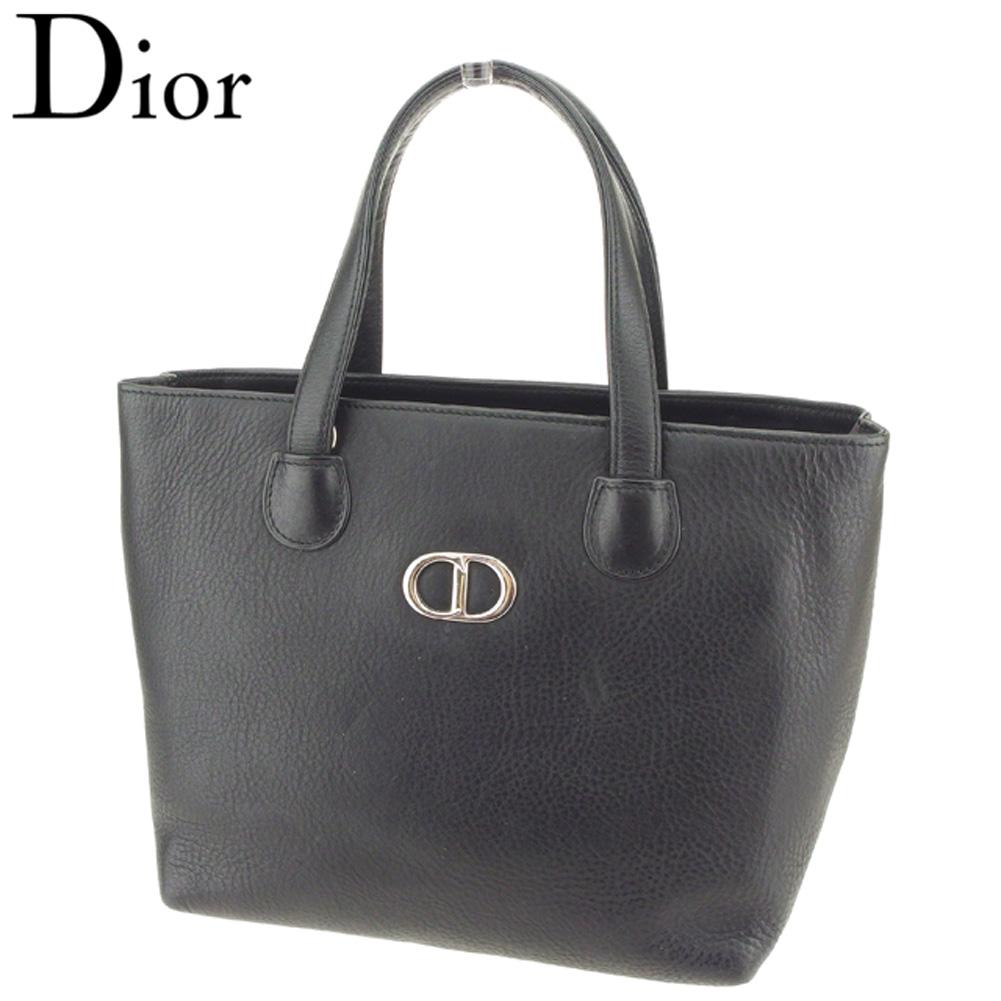 【中古】 ディオール Dior ハンドバッグ トートバッグ レディース CDマーク ブラック シルバー レザー 人気 セール Q461