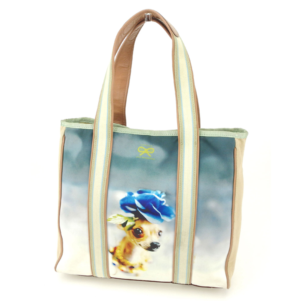 6112e0d5d0df0 アニヤハインドマーチ Anya Hindmarch tote bag Thoth handbag Lady's Chihuahua dog dog  transcription print beige blue-green system canvas X leather popularity  sale ...