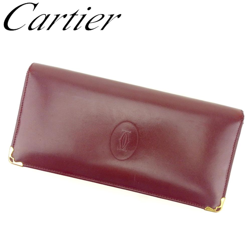 【中古】 カルティエ Cartier 長財布 ファスナー付き 財布 レディース メンズ マストライン ボルドー ゴールド レザー 人気 セール Q479