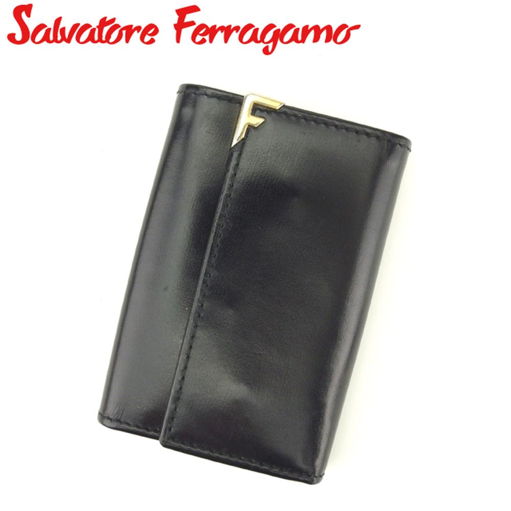 【中古】 サルヴァトーレ フェラガモ Salvatore Ferragamo キーケース 6連キーケース レディース メンズ 札入れ付き ブラック ゴールド レザー Q481