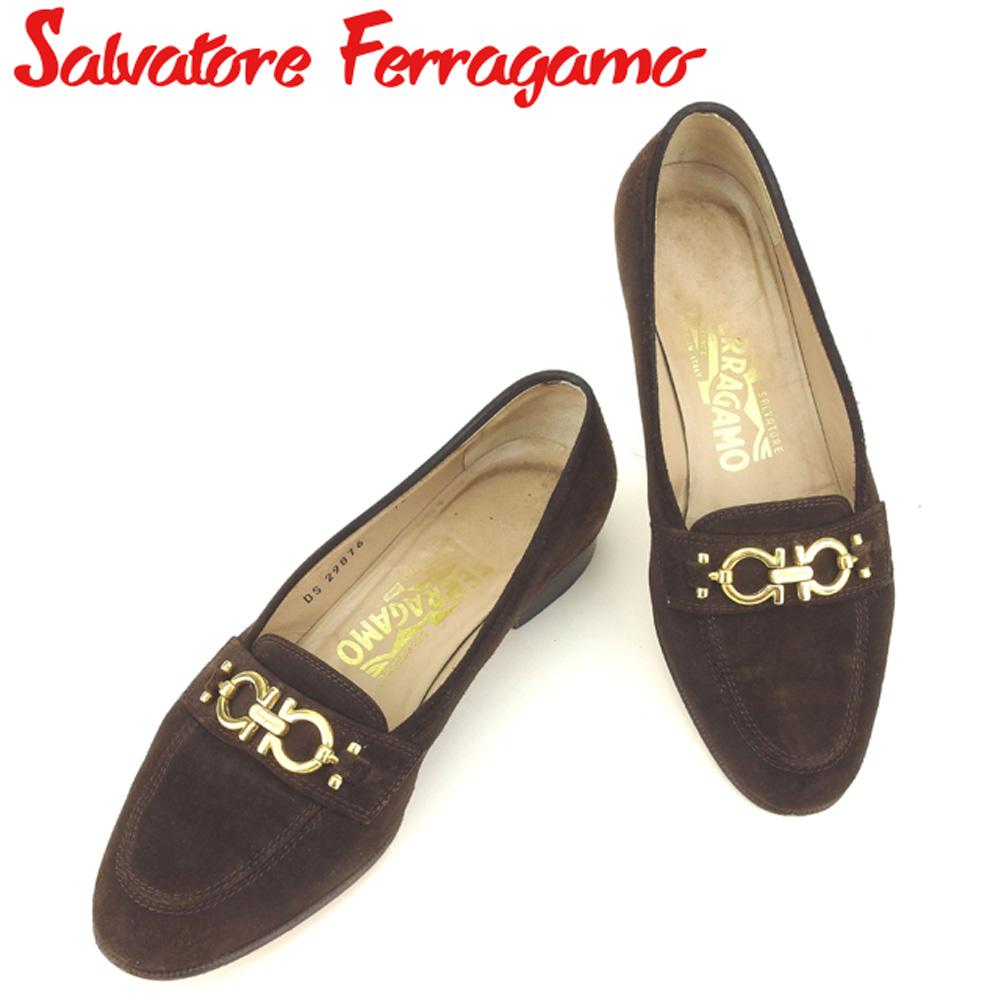 【中古】 サルヴァトーレ フェラガモ Salvatore Ferragamo ローファー シューズ 靴 レディース ♯5ハーフD パンプス ブラウン ゴールド スエード Q487