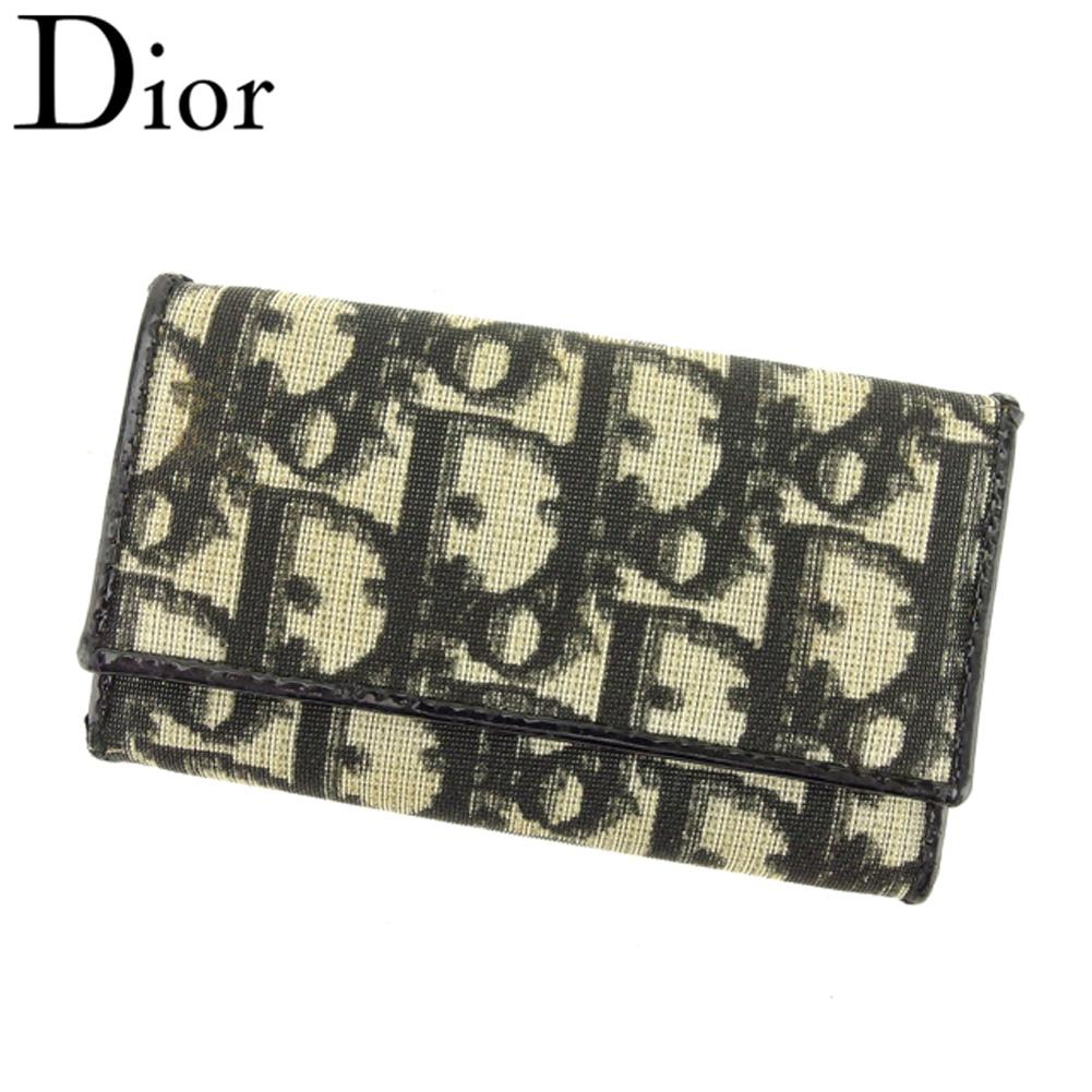 【中古】 ディオール Dior キーケース 6連キーケース レディース メンズ トロッター ブラック ベージュ ゴールド PVC×レザー ヴィンテージ 人気 Q491