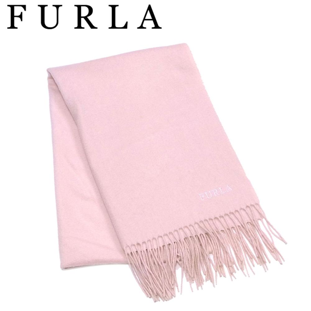 【中古】 フルラ FURLA マフラー フリンジ付き レディース ピンク C3747