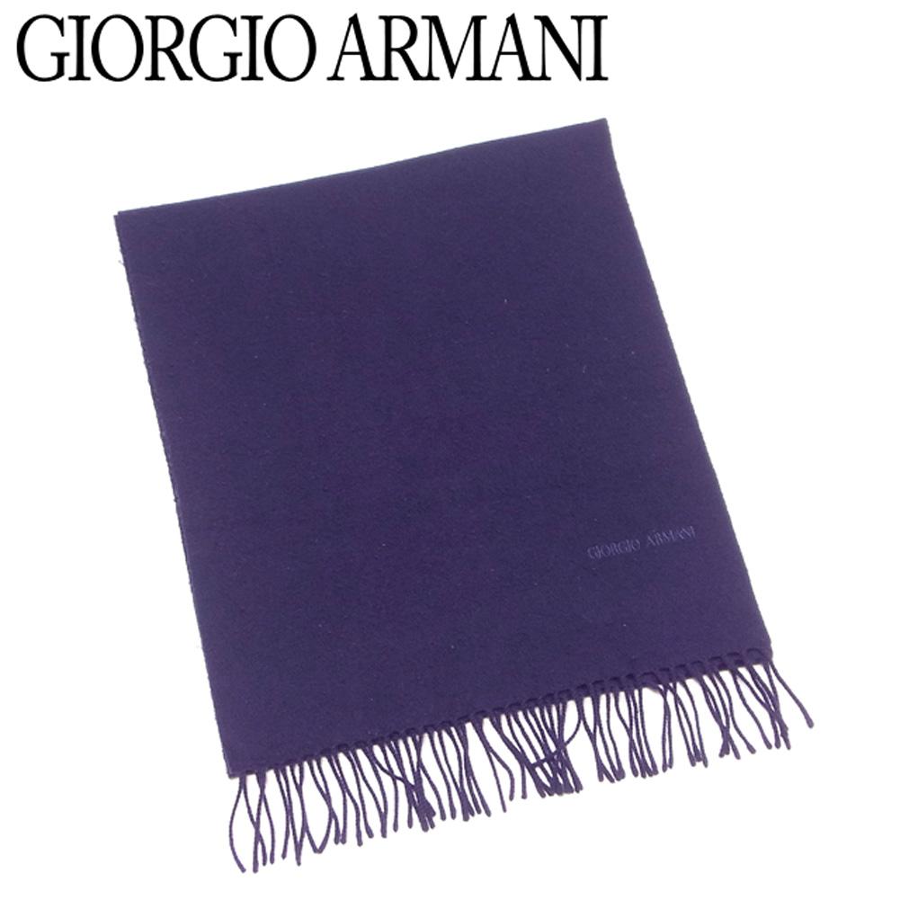 【中古】 ジョルジオ アルマーニ GIORGIO ARMANI マフラー フリンジ付き メンズ ネイビー ウール 毛 D2180
