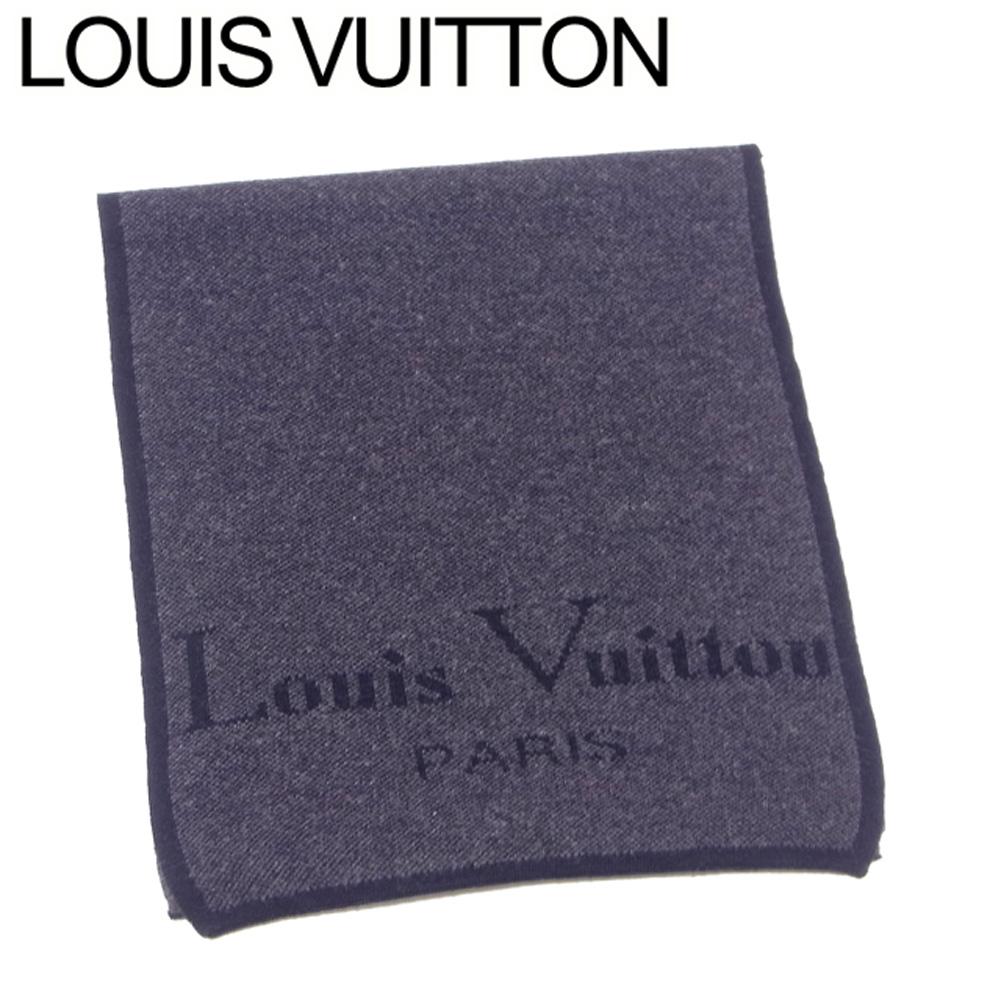 【中古】 ルイ ヴィトン マフラー レディース メンズ ロゴ グレー 灰色 ブラック ウール 毛 Louis Vuitton L3147