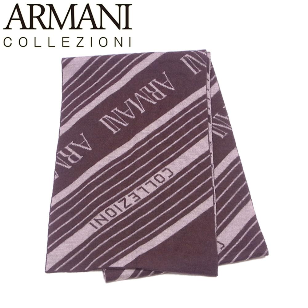 【中古】 アルマーニ コレツィオーニ マフラー 斜メストライプ メンズ ロゴ ブラウン ベージュ ARMANI COLLEZIONI Q643
